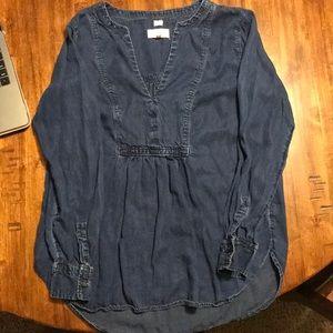 Loft chambray denim blouse